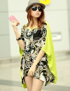 12.60 Bali Printed Batwing Sleeve T-Shirt with Asymmetric Hem - T-Shirts Code: 1322399 - Cheap Wholesale Price at ClothesCheap.com
