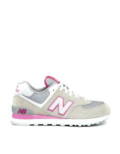 New Balance Grey/Pink Suede and Mesh 574 Trainers