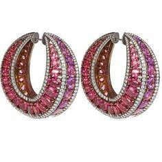 Marvelous titanium hoop earrings with sapphires and diamonds