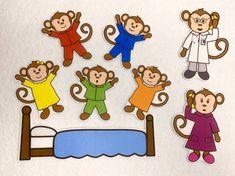 Five Little Monkeys Jumping on Bed Felt Stories - Speech Therapy Activity - 5 Little Monkeys - Felt Board - Flannel Toy - Preschool Activity No More Monkeys, Five Little Monkeys, Felt Board Stories, Felt Stories, Small Group Activities, Speech Therapy Activities, Rhyming Activities, Preschool Activities, Preschool Charts