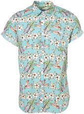 Green Jumbo Floral Pattern Short Sleeve Shirt