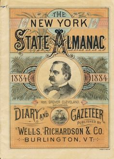 The New York State Almanac 1884, printed in Burlington, Vermont.