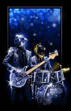 Daft Punk, illustrations by Shannon Trottman Daft Punk Poster, Thomas Bangalter, Pop Art, Art Vintage, Art Pictures, Photos, Cultura Pop, Kinds Of Music, My Favorite Music