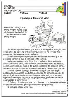 Atividade Texto e Interpretação Projeto Circo 5º ano | Ideia Criativa - Gi Barbosa Educação Infantil
