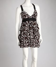 Take a look at this Brown Jungle Ruffle Dress on zulily today!