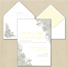 Lace Letterpress Invitation Suite DEPOSIT. $100.00, via Etsy.