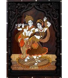 Radha Krishna in a Dancing Pose - Wood Inlay Work (Wood Wall Hanging) Krishna Radha, Durga, Horse Cart, Good Morning Flowers, Dance Poses, Our Solar System, Sai Baba, Wood Sculpture, Wood Wall
