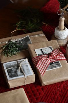 This Christmas, our gifts will be adorned with a few special photos from the collection to act as part of the gift as well. Because the photos show themselves off, the wrapping is simple. Butcher's paper, twine, a roll of ribbon and evergreens do the trick