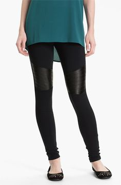 BP. 'Motorbike' Faux Leather Panel Leggings (Juniors) available at #Nordstrom