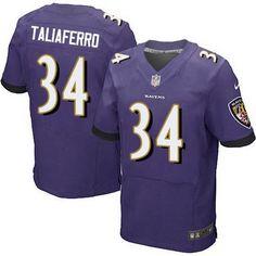 Baltimore Ravens #34 Lorenzo Taliaferro Purple Team Color NFL Nike Elite Men's Jersey