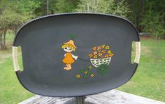 Vintage Serving Tray...Flirting Girl with Flower by AlloftheAbove, $18.00