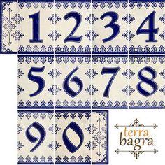 Número de casa de cerámica hecha a mano azulejos azul muñecas