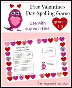 free Valentine's Day spelling game - the measured mom