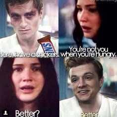 Hahahaha - Peeta and Katniss - Funny - Snickers! Hunger Games Jokes, Hunger Games Fandom, Hunger Games Trilogy, Hanger Game, Tribute Von Panem, Hunger Games Exhibition, Catching Fire, Mockingjay, Gaming Memes