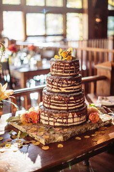 Naked wedding cake. Colorado Wedding in Beaver Creek. Reception at Saddleridge View More: http://jason-gina.pass.us/jeannie-daniel