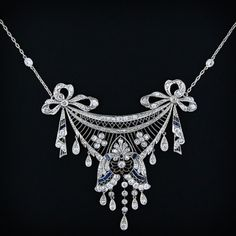 Edwardian platinum, diamond, and sapphire necklace