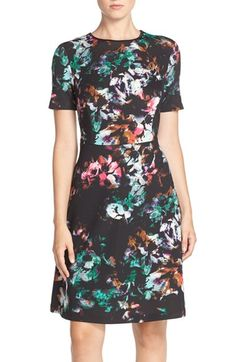 Marc New York Floral Print Scuba Fit & Flare Dress available at #Nordstrom