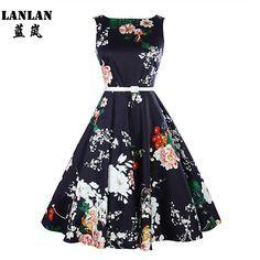 LANLAN Peony Print Floral Sleeveless 50s swing Dress with Belt Women Summer Dress Plus Size Audrey Hepburn Vintage Dresses