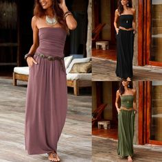 Womens Bandeau Holiday Off Shoulder Long Dress Summer Solid Maxi Dress Ladies sexy wrapped chest long dress vestido largo verano Off Shoulder Long Dress, Shoulder Tops, Long Dress Design, Long Summer Dresses, Dress Summer, Trendy Dresses, Long Dresses, Summer Outfit, Dress Long