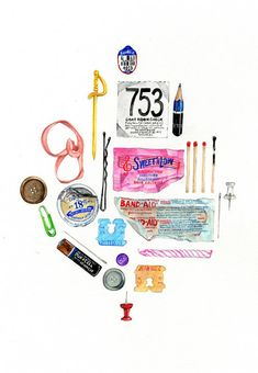 Gouache drawings by Janice Wu of Vancouver.  Even the little found objects can make up an interesting composition.