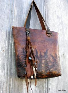 Woodland Leather Tote Bag with Embossed Ferns