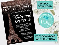 Paris Eiffel Tower Sweet 16 Invitation #98 | Digital INSTANT DOWNLOAD Editable Invite | Rose Gold Sparkle Glitter | Sweet 16 Party Invite by PurplePaperGraphics on Etsy Sweet 16 Invitations, Printable Invitations, Birthday Party Invitations, Hanging Mason Jars, Ball Mason Jars, Sweet 16 Parties, Paris Theme, Paris Eiffel Tower, Gold Sparkle