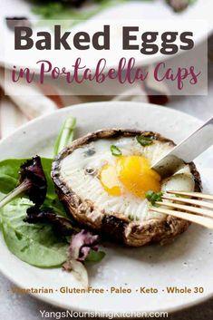 Baked eggs in portabella mushroom caps (paleo, keto, whole Yang& nutritious . - Baked eggs in portabella mushroom caps (paleo, keto, whole Yang& nutritious cuisine – - Paleo Meal Prep, Paleo Dinner, Paleo Meals, Frugal Meals, Keto Meal, Baked Portabella Mushrooms, Paleo Breakfast, Breakfast Recipes, Recipes