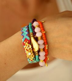 Pink Quartz Bohemian Indian Aztec Boho Chic Gypsy Hippie Style Multiple Strands Beaded Friendship Bracelet Set Of 5. $35.00, via Etsy.