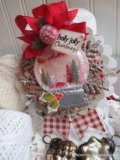 vintage christmas ornament-SANTA SNOWGLOBE by cherrysjubileecards