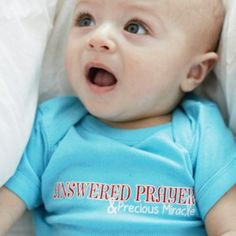 Answered Prayer and Precious Miracle Baby T shirt in Light Aqua Color | Baby and Toddler T shirts Christian Wall Decals Christian Wall Decals, Answered Prayers, Train Up A Child, Miracle Baby, Christian Shirts, Aqua Color, Kids Lighting, Baby Shirts, Baby Blue