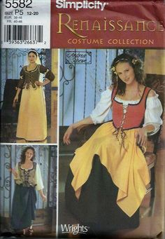 Renaissance Costume Pattern Wench Medieval by DawnsDesignBoutique, $8.99
