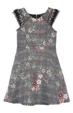 9ceeb700151 Free shipping and returns on Hannah Banana Plaid Floral Jacquard Dress (Big  Girls) at