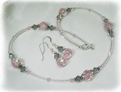Beaded+Jewelry+Ideas | Beaded Jewelry - Pink Crystal Beaded Necklace or set N244
