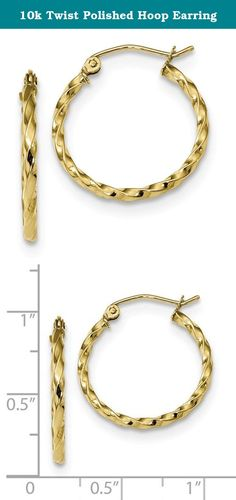10k Twist Polished Hoop Earring. Product Description Material: Primary - Purity:10K Finish:Polished Length of Item:21.53 mm Material: Primary:Gold Thickness:2 mm Width of Item:20.61 mm Product Type:Jewelry Jewelry Type:Earrings Sold By Unit:Pair Texture:Twisted Material: Primary - Color:Yellow Earring Closure:Hinged Earring Type:Hoop.