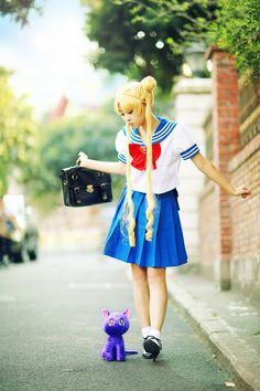 Usagi/Serena Tsukino from Sailor Moon in her school outfit.
