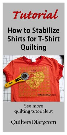 T-shirt quilting: Learn how to stabilize a tee shirt so it doesn't stretch out of shape when you sew it into a quilt. T-shirt quilting: Learn how to stabilize a tee shirt so it doesn't stretch out of shape when you sew it into a quilt. Quilting Tips, Quilting Tutorials, Quilting Projects, Sewing Tutorials, Sewing Crafts, Sewing Tips, Sewing Hacks, Sewing Ideas, Hand Quilting