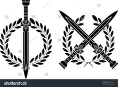 """Buy the royalty-free Stock vector """"Roman swords and wreath. vector illustration"""" online ✓ All rights included ✓ High resolution vector file for print, w. Gladiator Tattoo, Tattoo Old School, Badass Tattoos, Tattoos For Guys, Cool Tattoos, Tatoos, Kranz Tattoo, Greek Sword, Gladius Sword"""