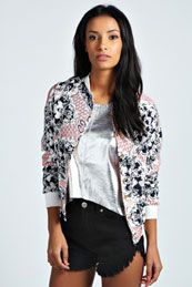 Keep out any springtime chills with the Isla Rococo Print Bomber Jacket.