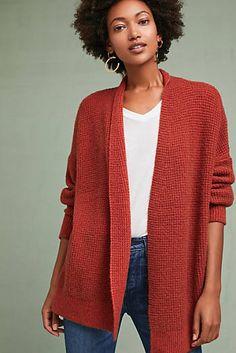 Textured Drop-Sleeve Cardigan