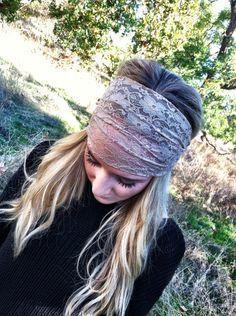 Taupe Lace Headband Head Wrap Women's Wide Hair Band Urban Turban Headbands (HBM-06). $18.00, via Etsy.
