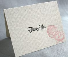 Pack of 5 Letterpress Ivory, Black and Blush Thank You Cards by RustBeltPress, $14.50