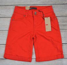 Levi's 512 Womens Denim Bermuda Shorts Cuffed Red Petite Size 2P Walking Bottoms #Levis512 #WalkingBermudaShorts #Summer