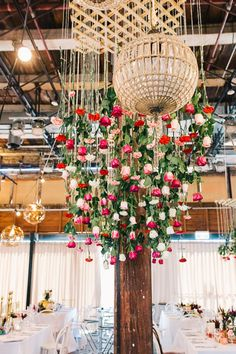 Floral chandelier | Simmer on the Bay wedding
