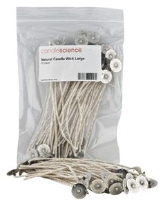 CandleScience Natural Candle Wick, Large, 50 piece CandleScience,http://www.amazon.com/dp/B0092RN1C6/ref=cm_sw_r_pi_dp_bvsPsb0N3BQW98H3   $8.99 and prime for shipping