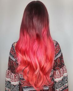 Tropical punch #UnicornHair in shades Chocolate Cherry, Strawberry Jam, and Neon Peach by @lorietherrien.