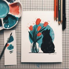 Cat and tulips - Limited edition print — Dasha Horb Kunst Inspo, Art Inspo, Aesthetic Painting, Aesthetic Art, Watercolor Paintings, Original Paintings, Abstract Paintings, Art Paintings, Indian Paintings