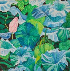 Waterlilies float, the detail on each leaf makes this painting almost abstract.