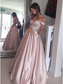 049aaf870cc Ball Gown Off-the-Shoulder Beaded Prom Dresses Party Evening Gowns 99602250  Pink Ball