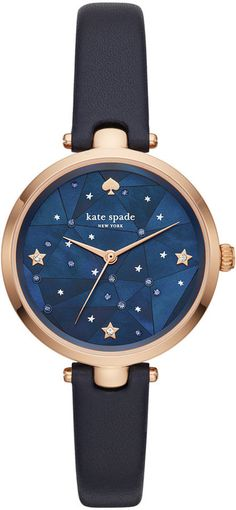 Kate Spade Women's Holland Navy Leather Strap 34mm