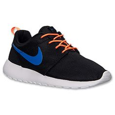 Men's Nike Roshe Run Casual Shoes | FinishLine.com | Black/Game Royal